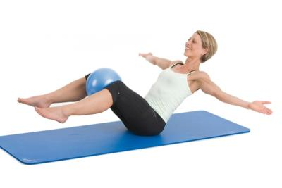 ballon pilates bleu diamètre 25 cm